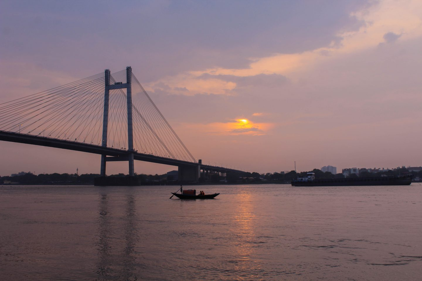 Viewing sunset on River Hooghly from Princep Ghat in Calcutta